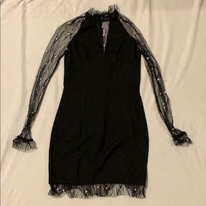 Black lace pearl dress